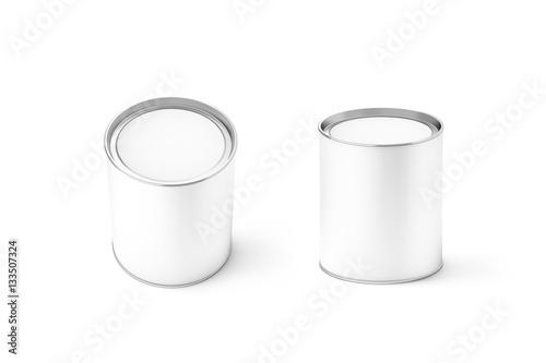 blank white round can mockup set isolated 3d rendering clear
