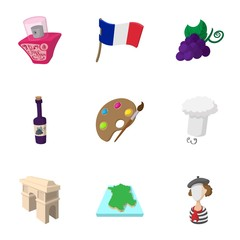 Stay in France icons set, cartoon style