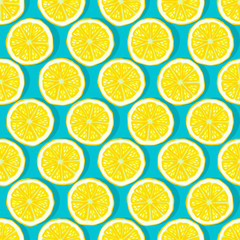 lemon slices blue background seamless pattern