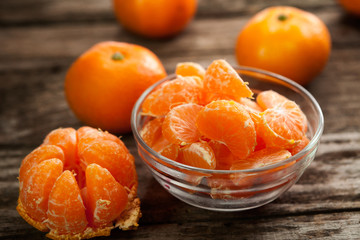 Peeled sweet clementines
