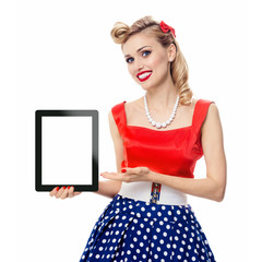 woman, showing blank no-name tablet pc monitor