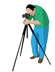 vector painting of photographer shooting something