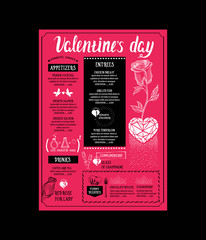 Menu template for Valentine Day dinner.