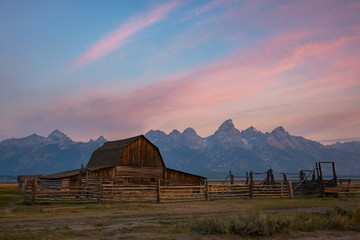 Mormon Row Barn in Wyoming at Sunrise