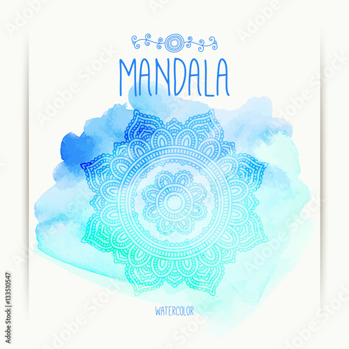 Hand drawn mandala on the watercolor background greeting hand drawn mandala on the watercolor background greeting invitation card indian ornament stopboris Gallery