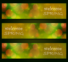 Welcome spring, blurred, bokeh design, green color background