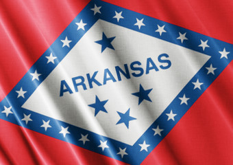 Arkansas waving flag close