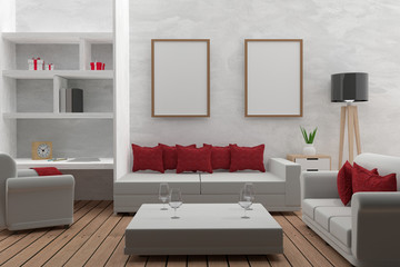 living room with mock up interior modern in 3D render image
