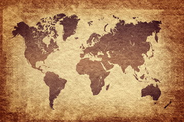 world map on grunge background, vintage look