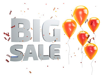 3D illustration of Big Sale poster. Sale banner with balloons and confetti