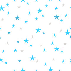 Hand drawn stars seamless pattern. Blue and gray color on a white background. Different size. Irregular.