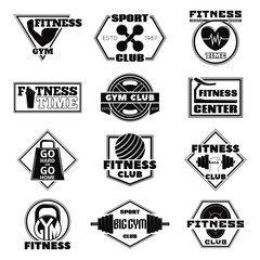 Monochrome Vector illustration of set of logos of the fitness.