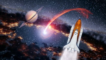 Space shuttle spaceship launch spacecraft planet Saturn rocket ship mission universe. Elements of this image furnished by NASA.
