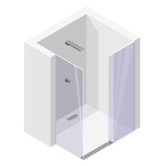 Shower enclosure with sliding glass doors. Modern white bathroom. Vector barier free shower in isometric perspective. Isolated sanitary equipment. encosure shower with modern water battery tap.