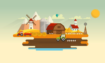 Abstract Colorful Flat Design of Agricultural Rural Landscape, Vector Illustration.