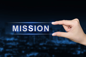 hand clicking mission button