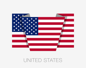 Flag of United States of America. American Flag. Flat Icon Waver