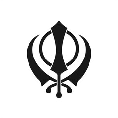 Sikhism religion Khanda symbol silhouette icon on background