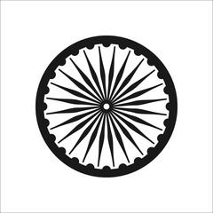 Ashoka Chakra symbol silhouette icon on background
