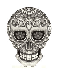 Skull art day of the dead.Art design skull action smiley face in love day of the dead festival hand pencil drawing on paper.