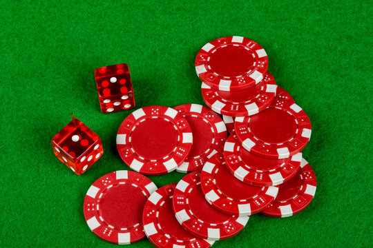 Gambling dice and betting chips