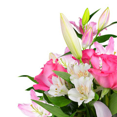 Flower pink roses and lily isolated on white background. Bouquet on Valentine's Day.