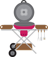 Barbecues round mobile on wheels