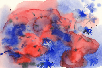 Cornflowers watercolor background unfinished