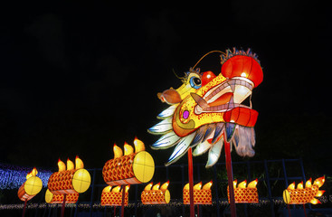Chinese dragon lantern at mid autumn festival