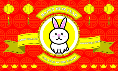 Happy new year of Rabbit year on Red background and golden ribbon with good word for life