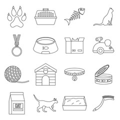 Cat care tools icons set, outline style