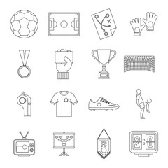 Soccer football icons set, outline style