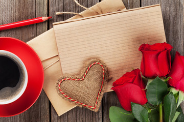 Love letter notepad, red roses and coffee cup