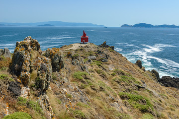 Lighthouse of  Robaleira point, Pontevedra, Spain