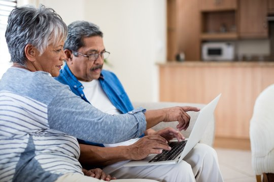 Senior couple using laptop in living room