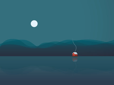 Lake house vector illustration background with cabin on water at night under moon. Concept of freedom, solitude, calm, relaxing holiday or vacation.