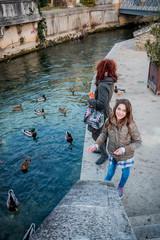 Femme et fillette donnant à manger aux canards à L'Isle-sur-Sorgue