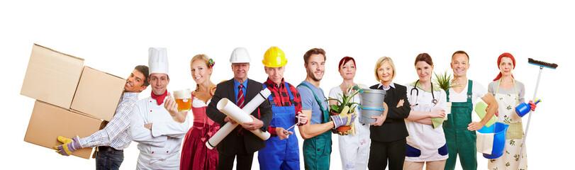 Gruppe mit vielen verschiedenen Berufen