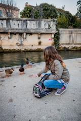 Fillette donnant à manger aux canards à L'Isle-sur-Sorgue