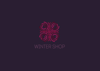 Creative logo, abstract geometric lines with rounded, winter snowflake