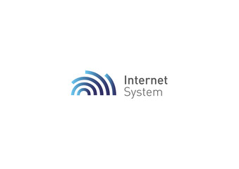 Creative logo, abstract geometric lines with rounded, internet system