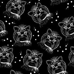 Cute dog seamless pattern on black background