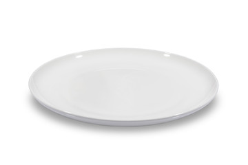 Flat empty white plate shallow on white background from side