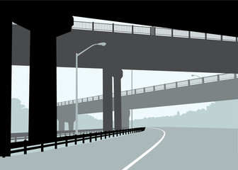 Silhouette illustration of highway overpass bridges in Hamilton, Ontario, Canada.