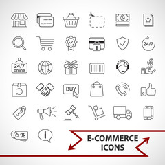 E-commerce, shopping icons set