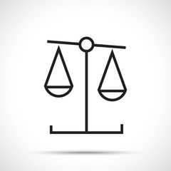 Justice scales silhouette. Scales balance icon isolated on white background. Line art style.