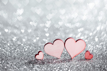 Four hearts on glitters