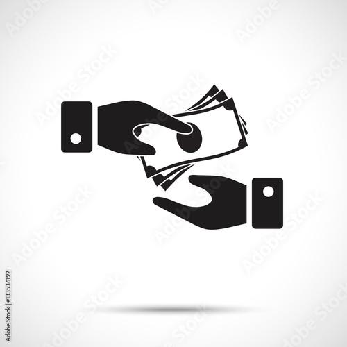 Quot Receiving Money Icon Corruption Symbol Two Vector Hands