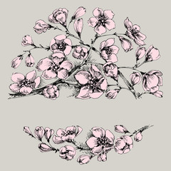 Floral frame with space for text. Hand drawn flowers design