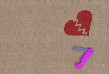 Tear on broken heart with knife, 3D rendering